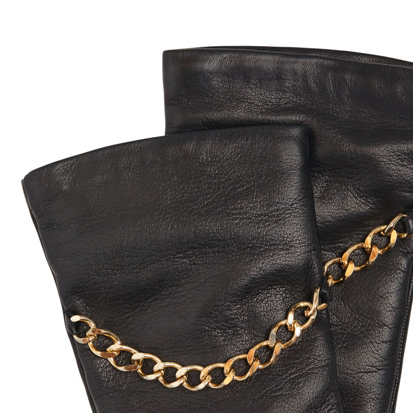 Enna Women's Cashmere-Lined Leather Gloves with Chain - Black