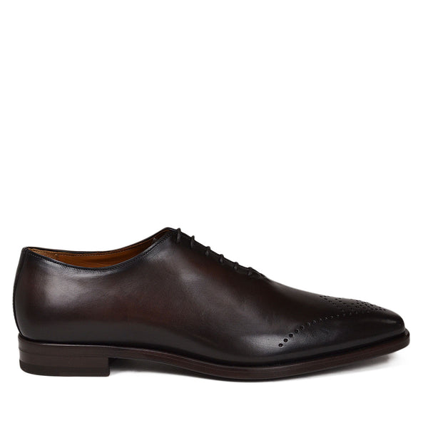 Claudio Leather Eyelet-Toe Oxford - Dark Brown