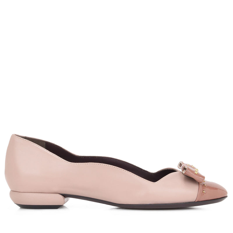 Cloe Leather/Patent Leather Flat, 1-Inch - Nude/Antoinette Leather/Patent Leather
