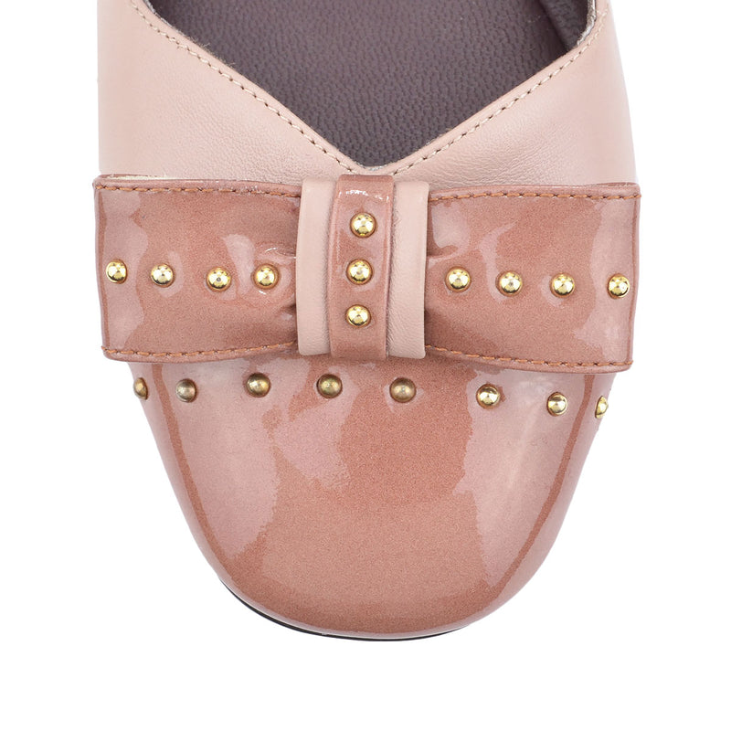 Cloe Leather/Patent Leather Flat, 1-Inch - Nude/Antoinette Leather/Patent Leather - FINAL SALE