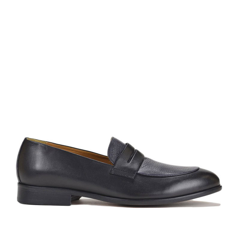 Cosmo Calf/Deerskin Penny Loafer - FINAL SALE - Black/Blue Calf/Deerskin