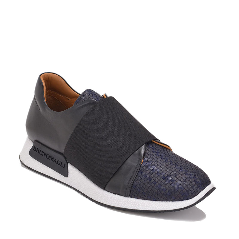 Dado Woven Sneaker - Navy Woven Textile/Leather  - FINAL SALE