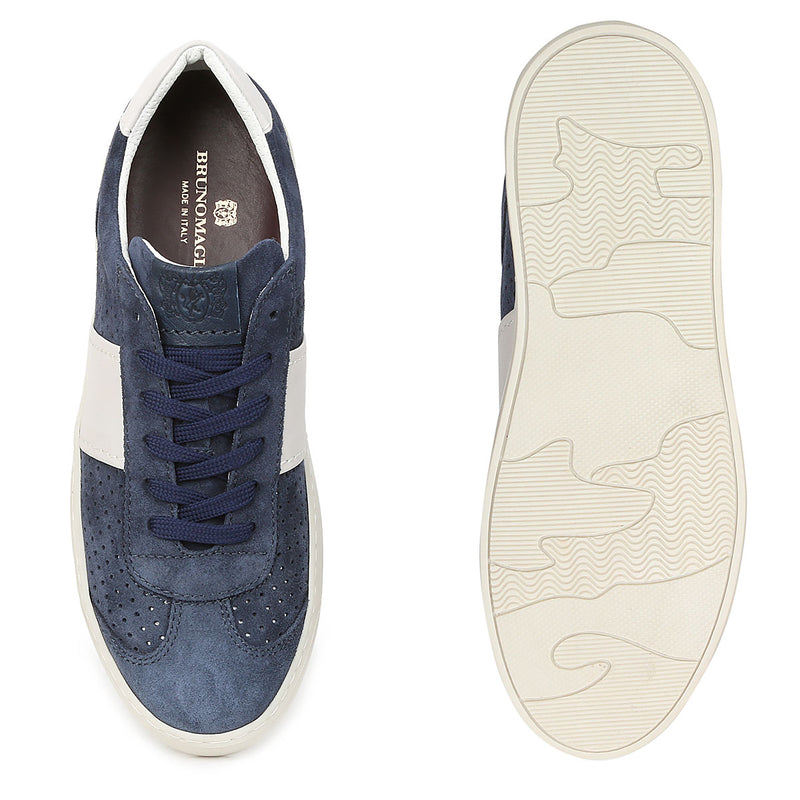 Dario Perforated Suede Sneaker - Navy Suede