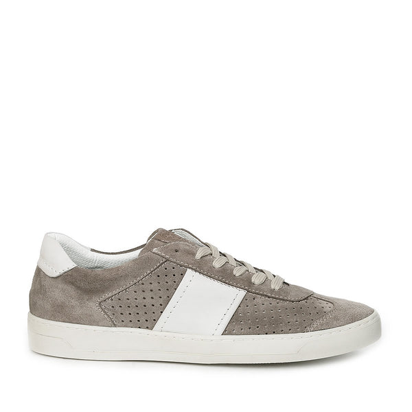 Dario Perforated Suede Sneaker - Taupe Suede