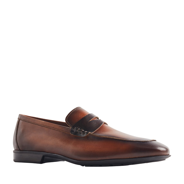 Dorino Calf-Leather Penny Loafer - Cognac/Dark Brown