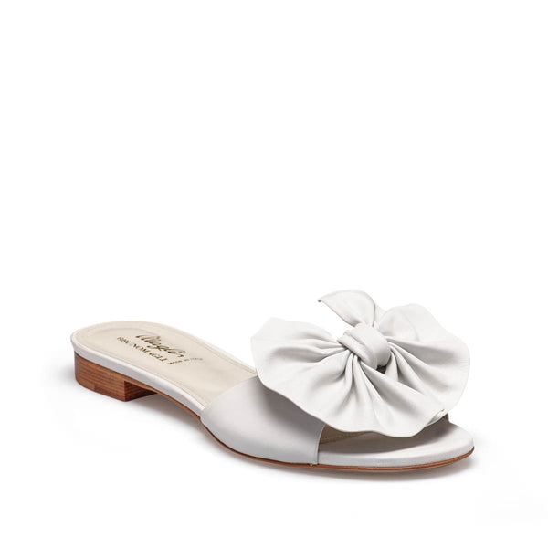 Dory Leather Soft Bow Flat Slide - White Leather