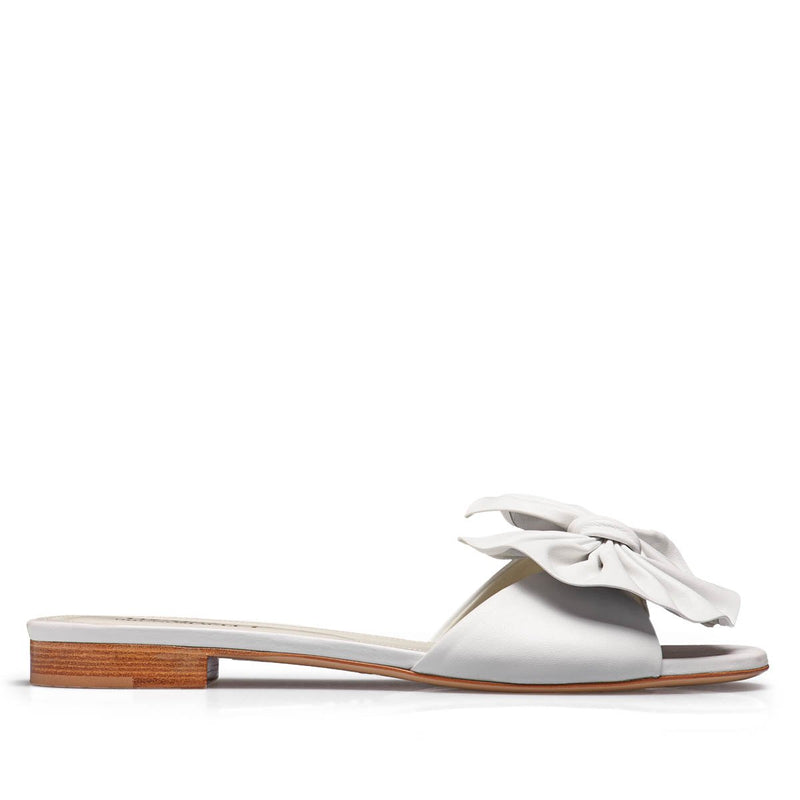 Dory Leather Soft Bow Flat Slide - White Leather - FINAL SALE