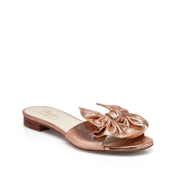 Dory Metallic Soft Bow Flat Slide - Rose Gold Metallic Leather