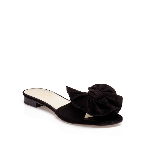 Dory Suede Soft Bow Flat Slide - Black Suede