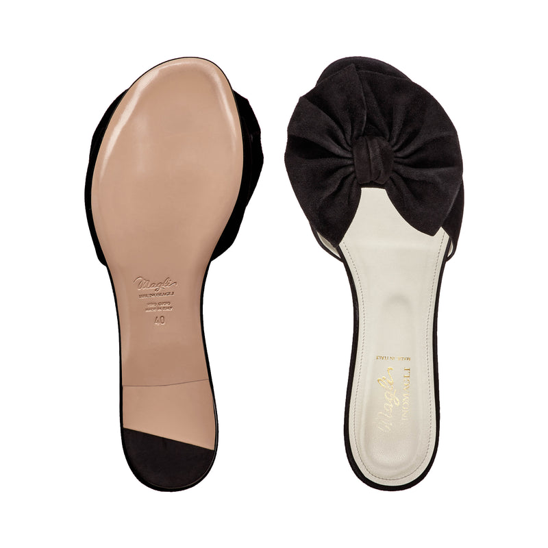 Dory Suede Soft Bow Flat Slide - Black Suede - FINAL SALE