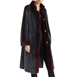 Women's Suzana Shearling Overcoat - Grey/Wine
