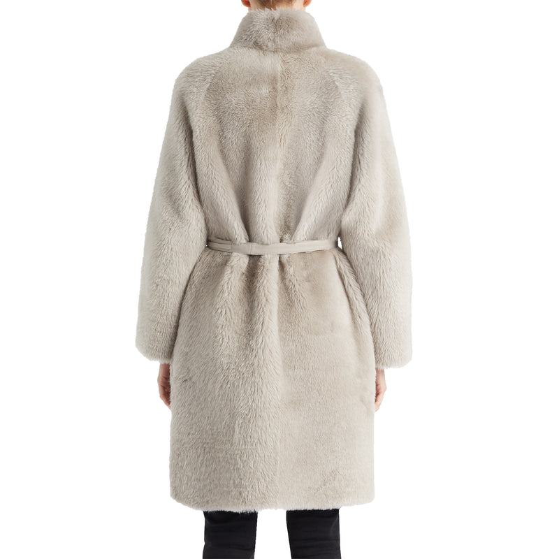 Women's Suzetta Structured Shearling Coat - Beige