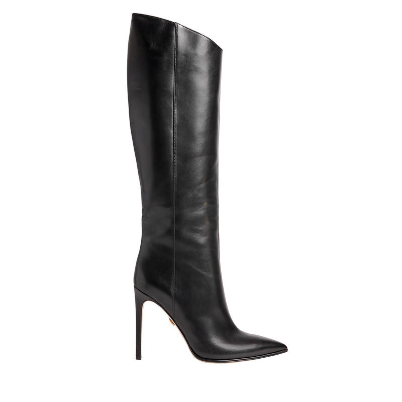 Eleonora Leather Tall Stiletto Boot - Black