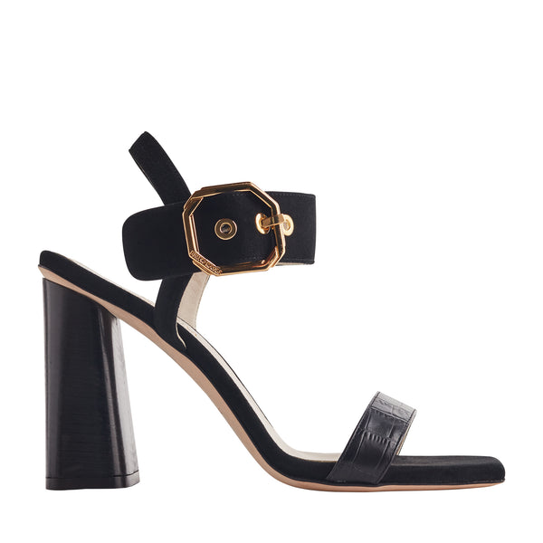 Ellie Heeled Sandal with Buckle - Black