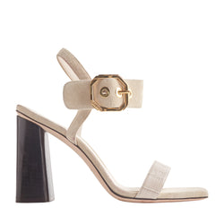 Ellie Heeled Sandal with Buckle - Ivory