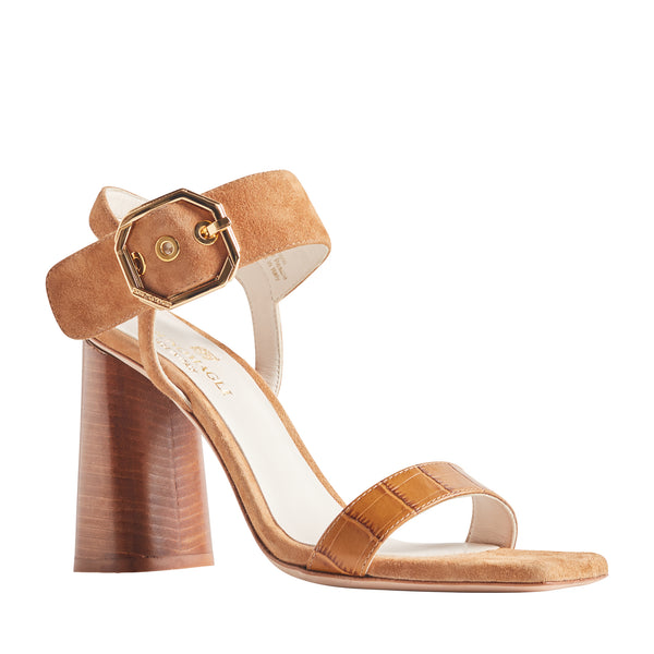 Ellie Heeled Sandal with Buckle - Tan