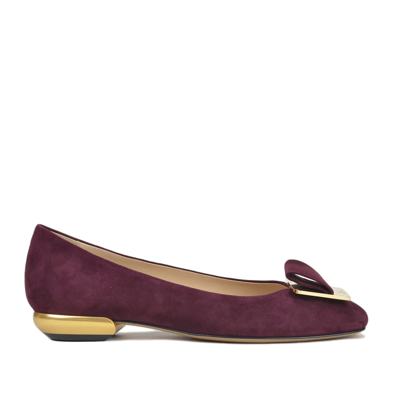 Emma Women's Flat - Bordo/Gold
