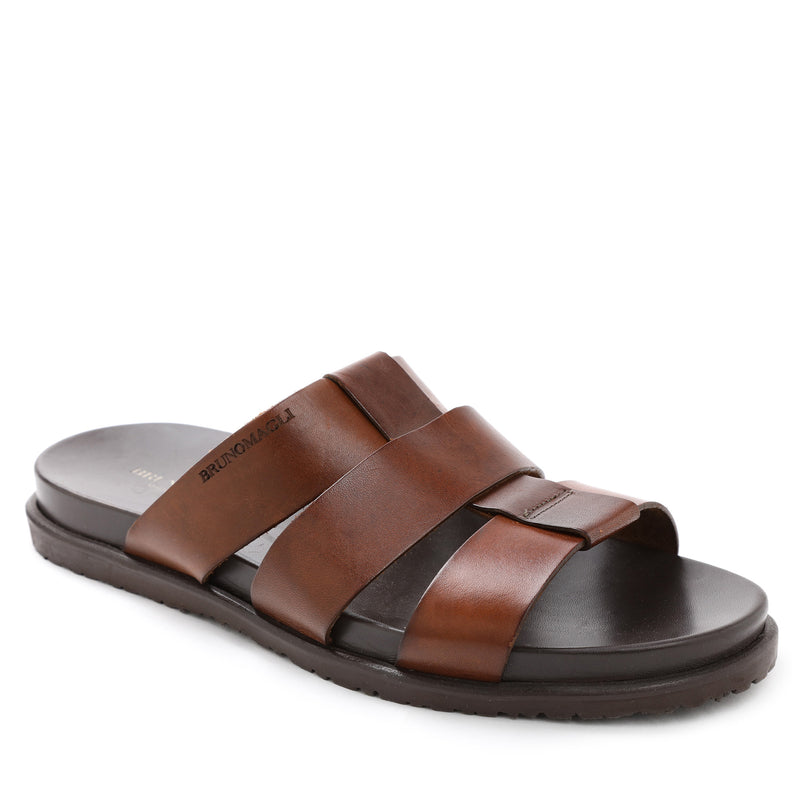 Empoli Leather Slide Sandal - Dark Brown