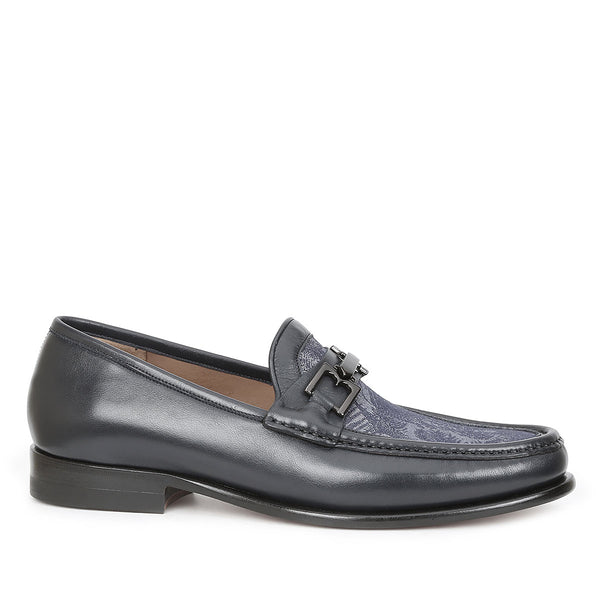 Enzo Leather/Fabric Bit Loafer - Blue Multi Leather/Fabric - FINAL SALE
