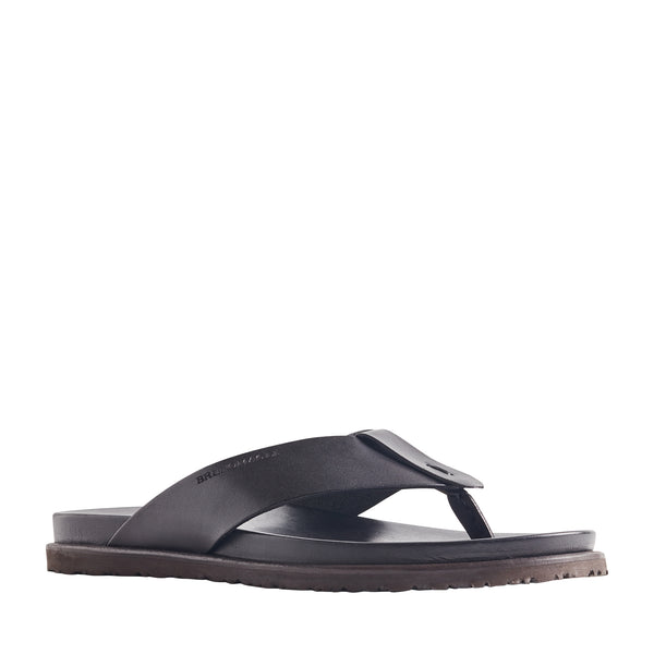 Essino Leather Thong Sandal - Black