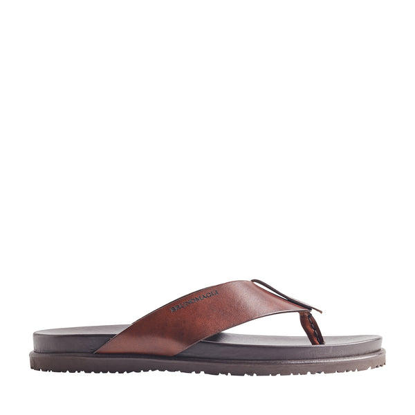 Essino Leather Thong Sandal - Dark Brown