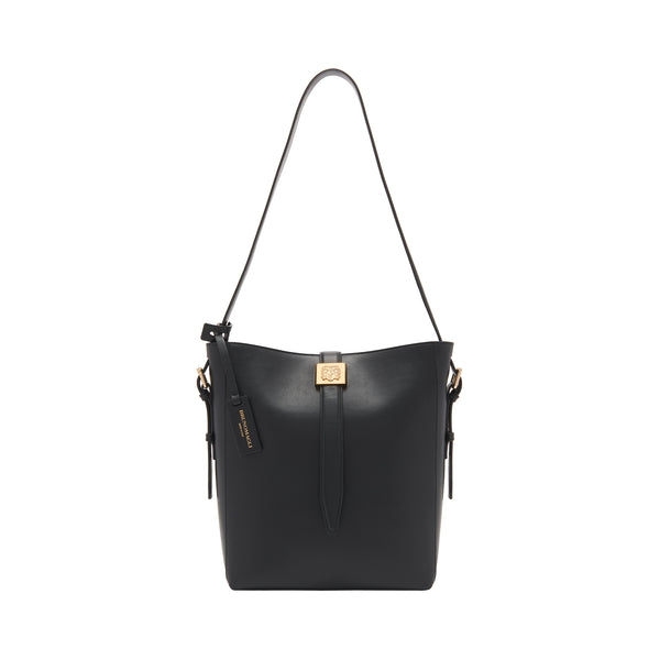 Smooth Leather Insignia Bucket Bag - Black