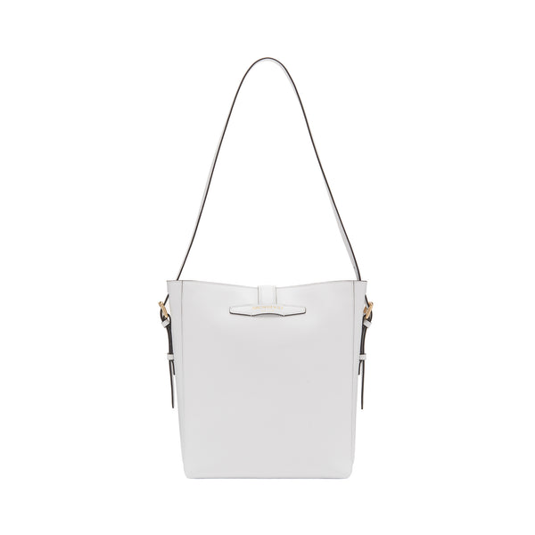 Smooth Leather Insignia Bucket Bag - Talc