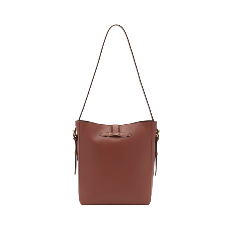 Smooth Leather Insignia Bucket Bag - Sienna