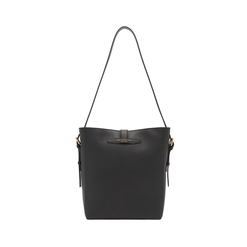 Textured Leather Insignia Bucket Bag - Black