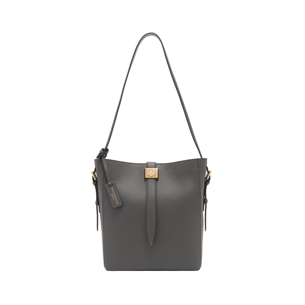 Textured Leather Insignia Bucket Bag - Greige