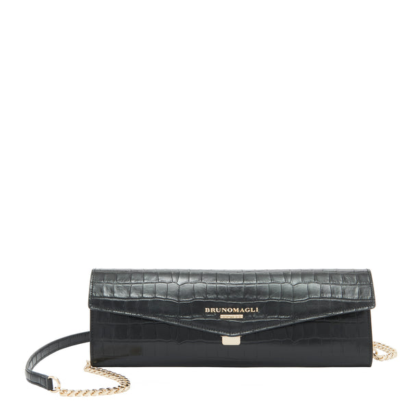 Croc-Embossed Chain Envelope Clutch - Black