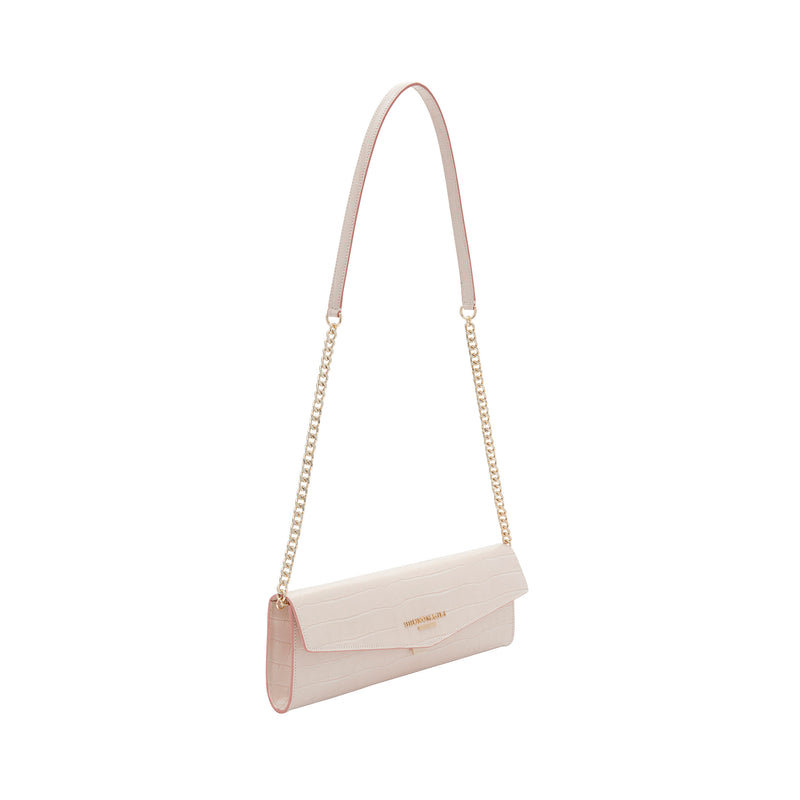 Croc-Embossed Chain Envelope Clutch - Nude