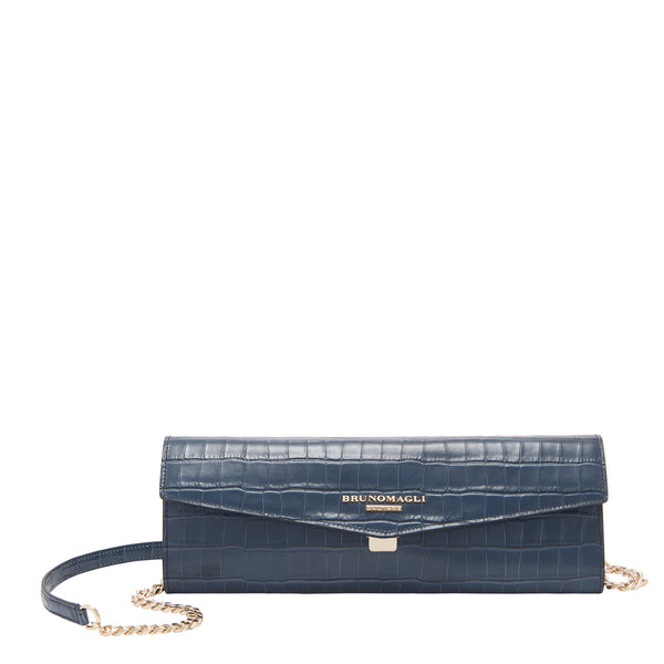 Croc-Embossed Chain Envelope Clutch - Ink