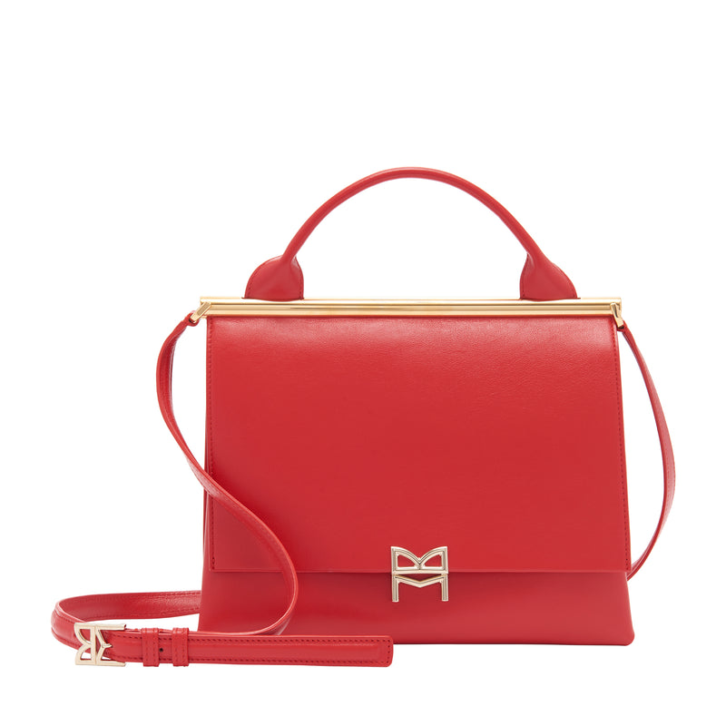 Concertina Top-Handle Satchel Handbag - Red