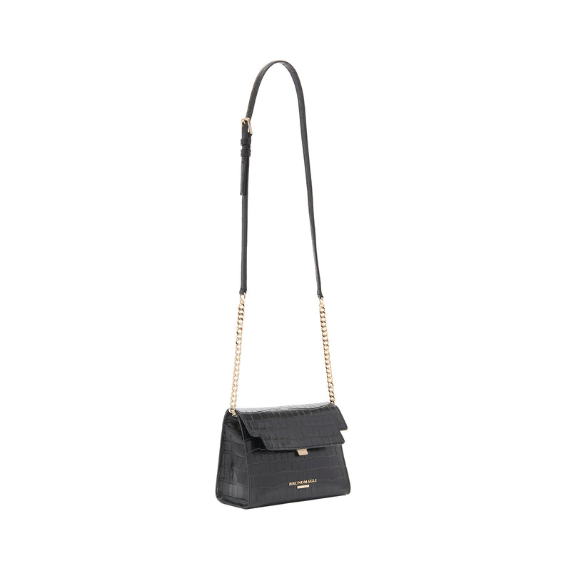 Croc-Embossed Chain Notched Crossbody Bag - Black