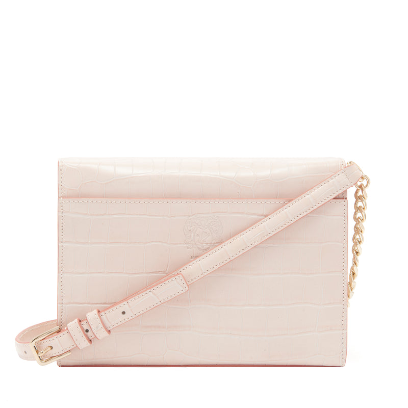 Croc-Embossed Chain Notched Crossbody Bag - Nude