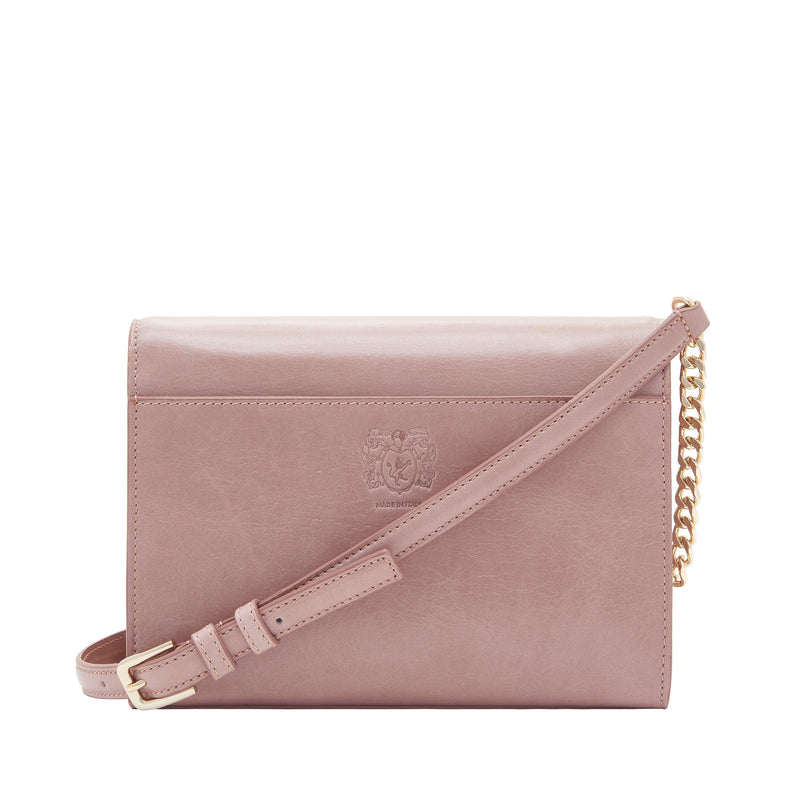 Distressed Chain Notched Crossbody Bag - Nude