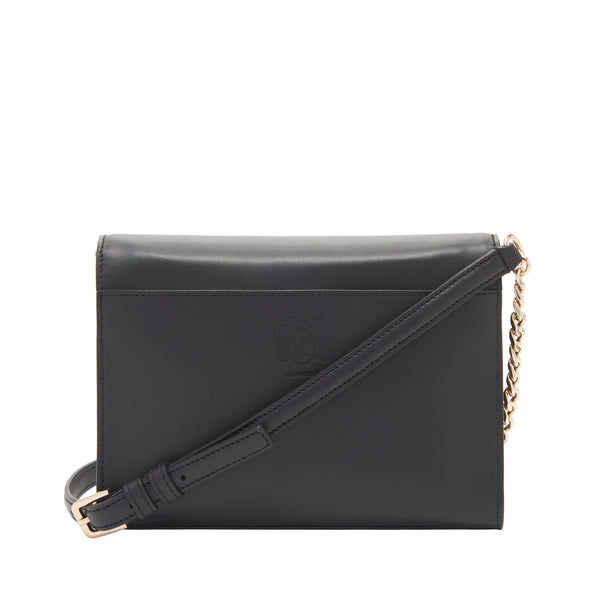 Chain Notched Crossbody Bag - Black