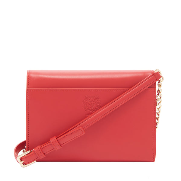 Chain Notched Crossbody Bag - Red