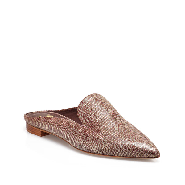 Forte Printed-Leather Loafer Mule - Rose Printed Leather - FINAL SALE