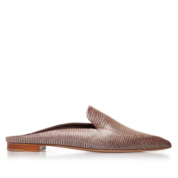 Forte Printed-Leather Loafer Mule - Rose Printed Leather