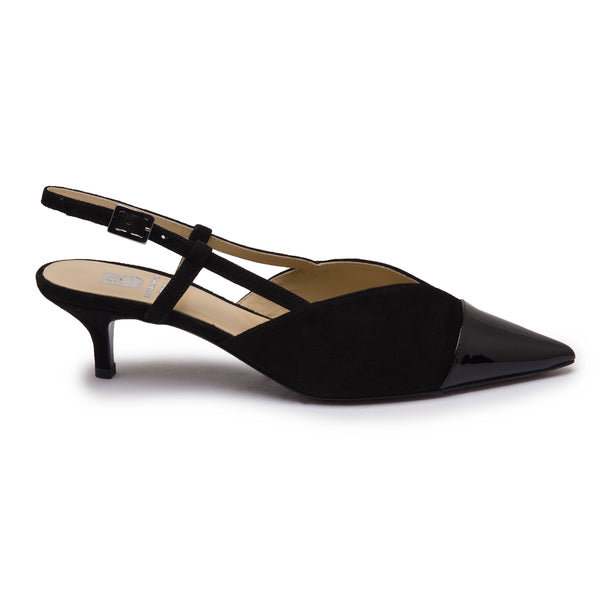 Fran Women's Pump - Black Suede/Patent