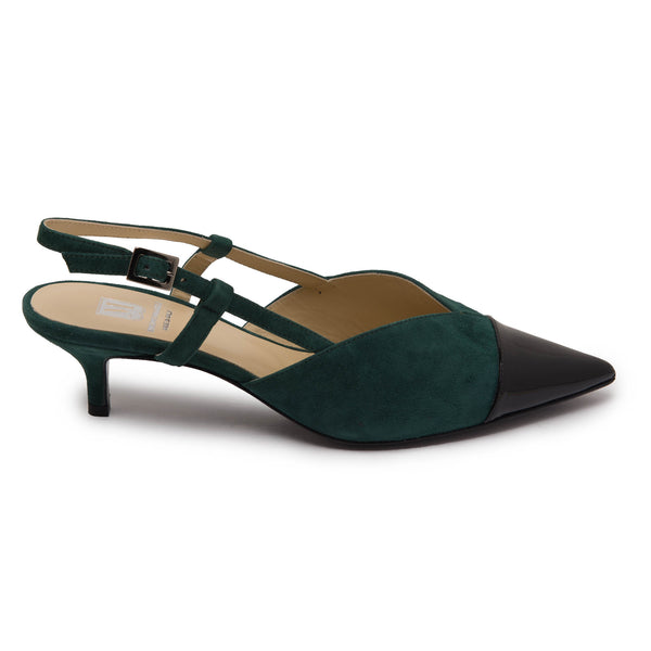 Fran Women's Pump - Green Suede/Black Patent