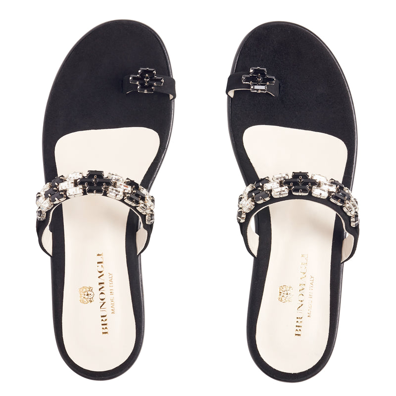 Freya Suede & Crystal Flat Sandals - Black