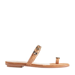 Freya Suede & Crystal Flat Sandals - Tan