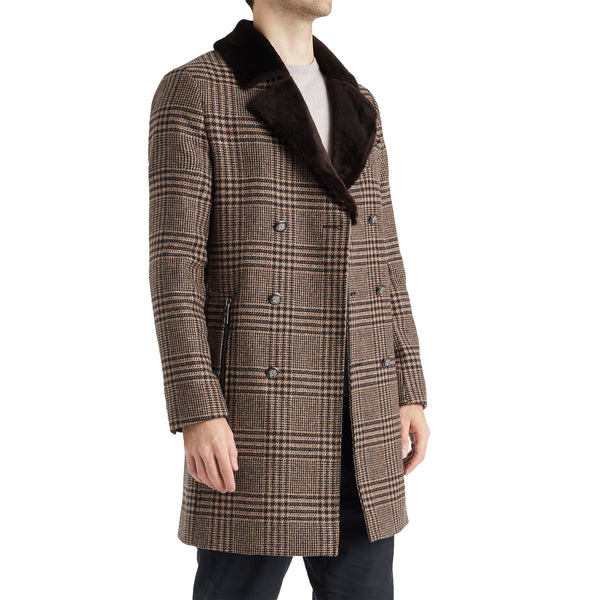 Gabriele Men's Plaid Wool Jacket with Shearling  - Brown