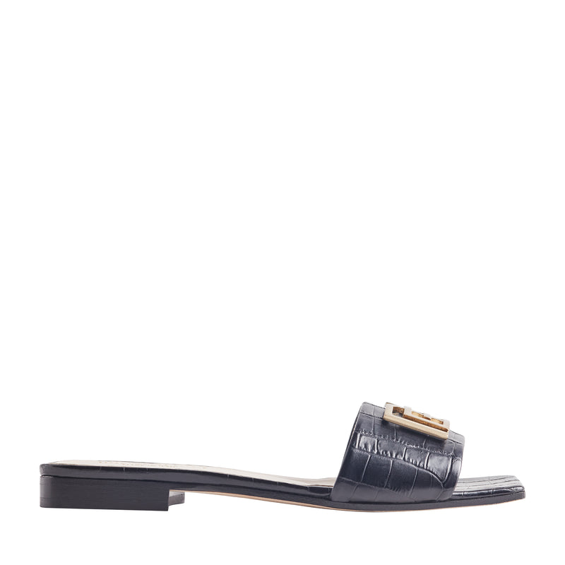 Ghita Croc-Embossed Leather Slide - Black