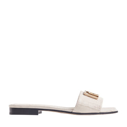 Ghita Croc-Embossed Leather Slide - Ivory