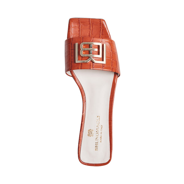 Ghita Croc-Embossed Leather Slide - Tangerine