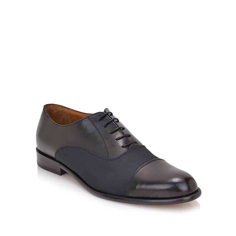 Gino Oxford Lace-up - Black Leather/Textile - FINAL SALE